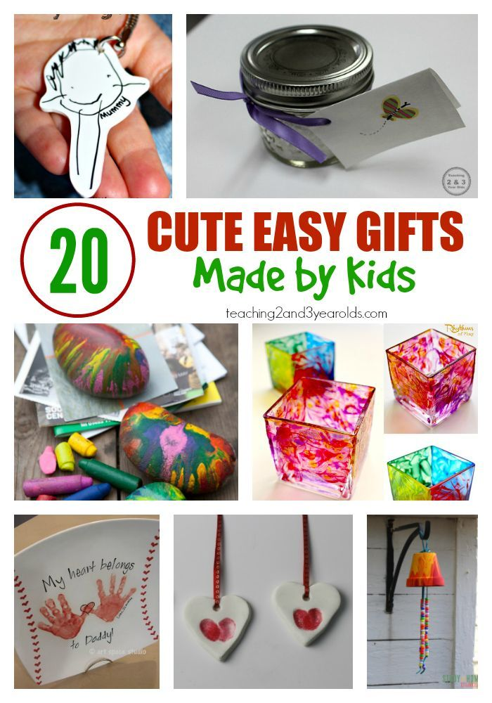 20 cute and easy gifts made by kids - some are so easy that even toddlers and preschoolers can make them! Perfect keepsakes for that someone special. From Teaching 2 and 3 Year Olds