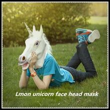 Hot Sale Creepy Animal Horse Unicorn Mask Head Halloween Costume Theater Prop…