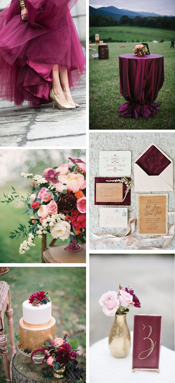 wine colored gold weddings
