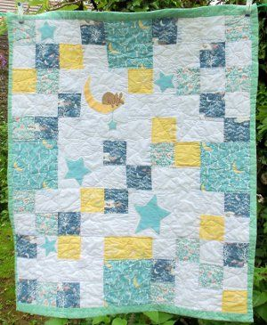 Moon Bunny Baby Quilt | FaveQuilts.com I wish I knew someone who was going to have a baby...just so I could make this!