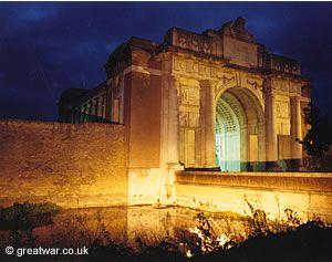The Menin Gate Memorial at night.