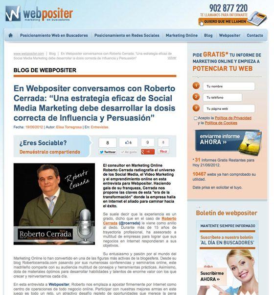 [En Los Medios] Roberto Cerrada Opina Para Webpositer: Retos Del Marketing Para 2012
