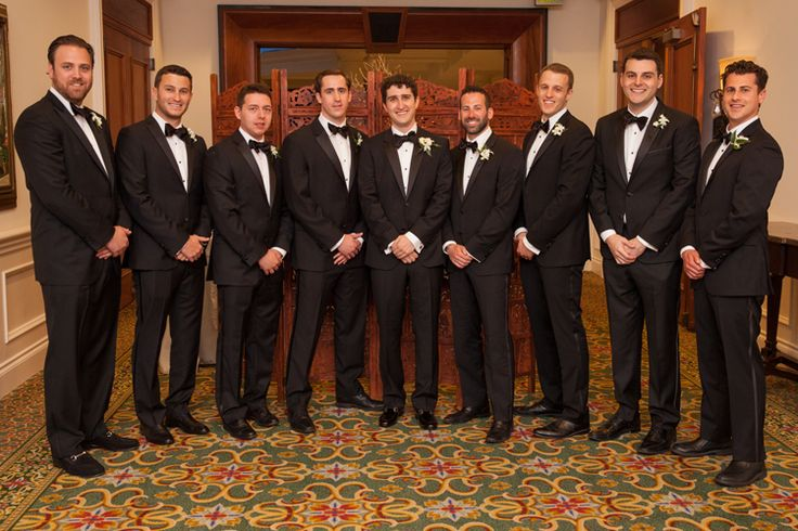Classic tuxedos for the groom and groomsmen (Jeff Kolodny Photography)
