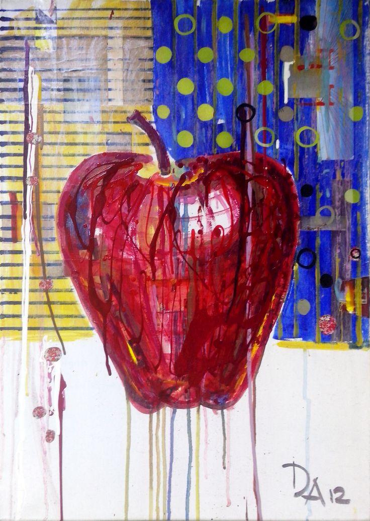 "Ivanov Gallery / Art for sale. ""Apple"", Афанисьева Дария, 2012. Холст, акрил, mixed media/50х70см. «Apple», Afanasieva Daria, 2012. Acrylic on canvas, mixed media/50х70sm."