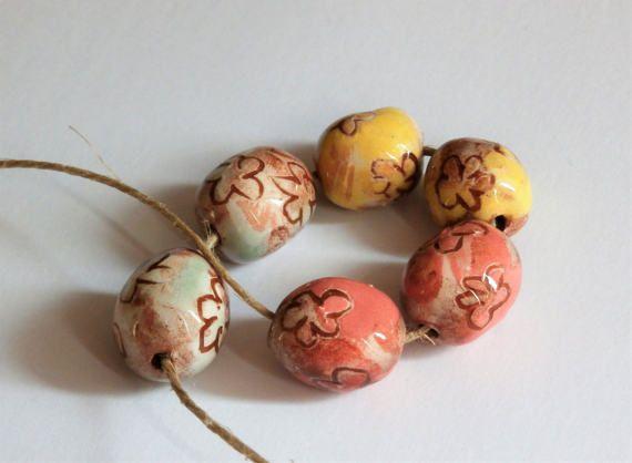 Set of 6 flower beads oval colorful spring par CeramicBeadsArt