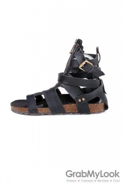 GrabMyLook Black Leather Strap Mens Cork Bottom Roman Gladiator Sandals Shoes