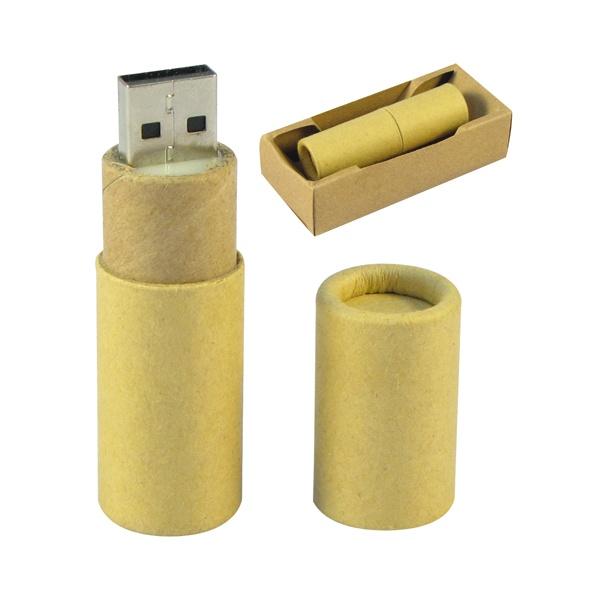 COD.EC017 Pendrive Ecológico 4 GB, cilíndrico de cartón reciclado. Presentación en Estuche de Cartulina Natural.
