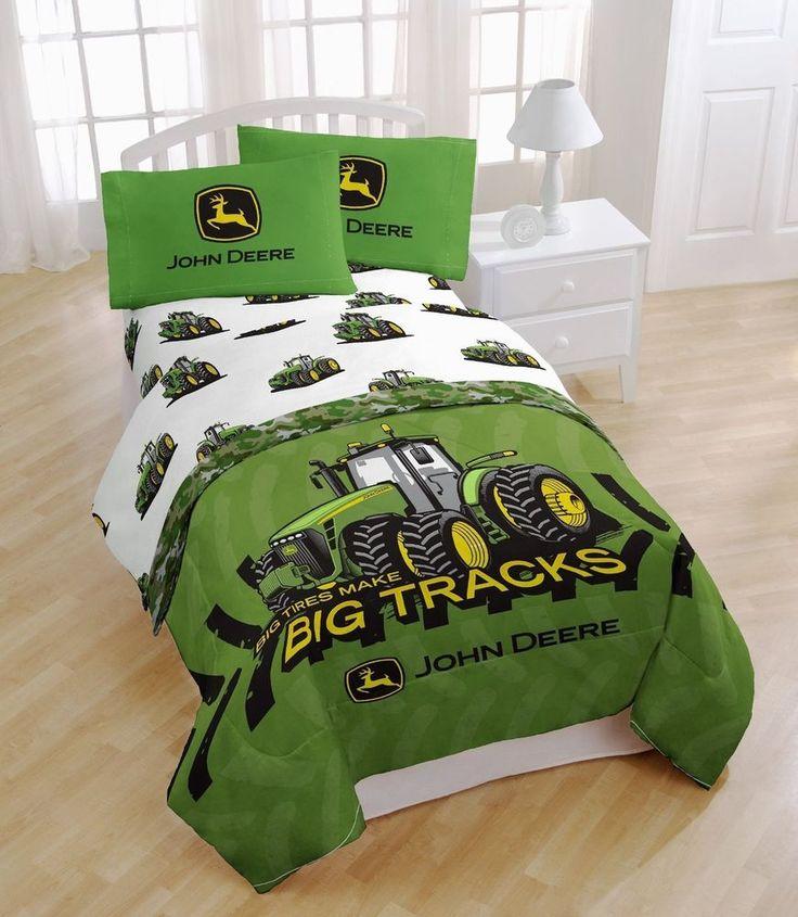 John Deere Big Tracks Twin Sheet Bed Set Green Big Tractor Farm Kids Boys New #JohnDeere