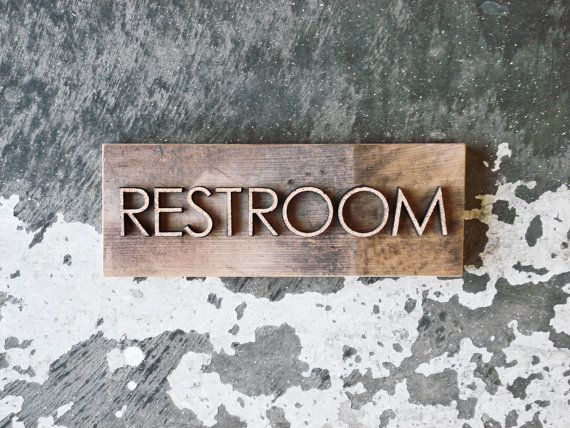 "Reclaimed Barnwood Cork Restroom Sign - Rustic Bathroom Decor - 3"" x 8"" Size - Custom Options Available"