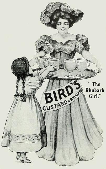 """A lovely Bird's Custard ad from 1911. """"The Rhubarb girl"""""""