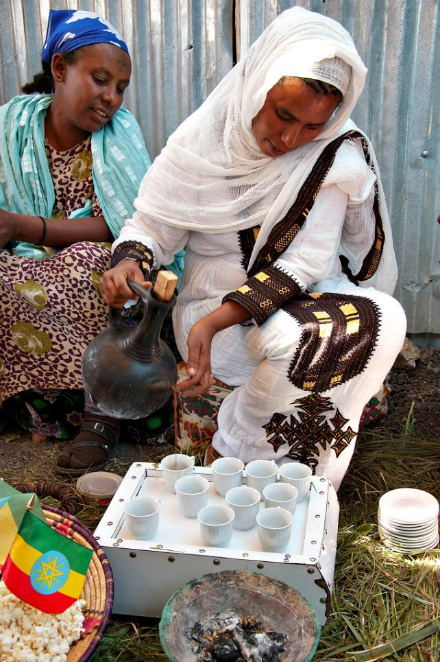 "Ethiopian coffee ceremony. Ethiopian coffee is known as Buna and they have a saying: ""Buna dabo naw"" -  ""Coffee is our bread."""