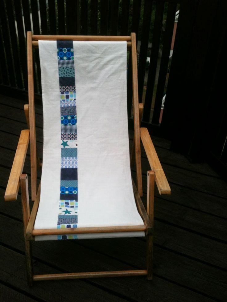 Alter Liegestuhl in neuem Gewand aus Vorhang und Stoffresten / Old deckchair made new with curtain and scraps of fabric / Upcycling