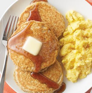 These Hearty Oatmeal Pancakes are very low in fat and have no cholesterol in them thanks to the egg substitute and unsweetened applesauce. Reheat in the toaster on busy mornings.