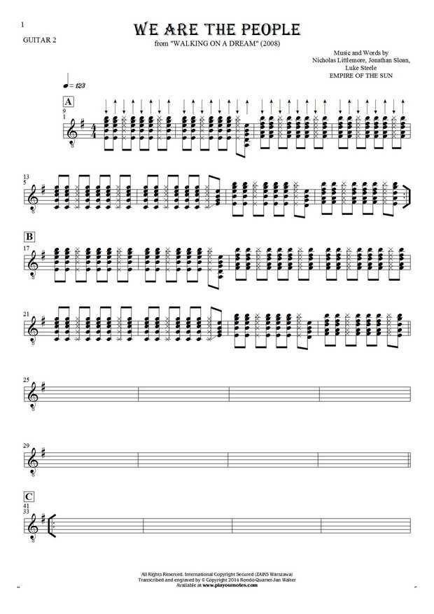 We Are the People sheet music by Empire of the Sun. From album Walking on a Dream (2008). Part: Notes for guitar - guitar 2 part.