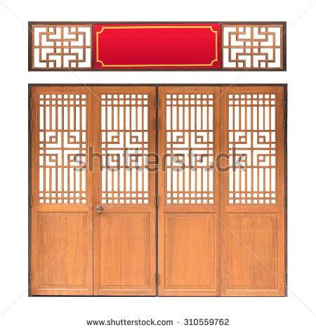 Traditional Asian window and door pattern, red frame, chinese style wood door with clipping path, isolated on white background