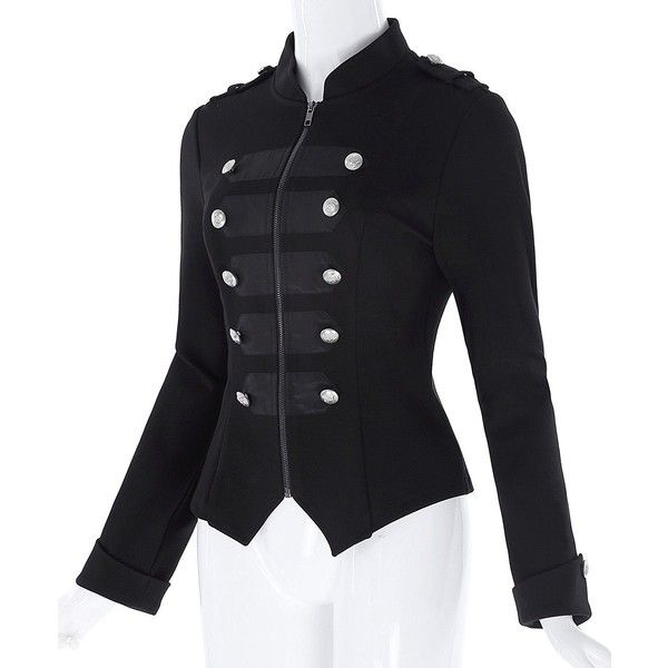 Steampunk Gothic Military Parade Double Breasted Decor Coat Jacket ($60) ❤ liked on Polyvore featuring outerwear, jackets, steampunk military jacket, military jackets, goth jacket, gothic military jacket and gothic jackets