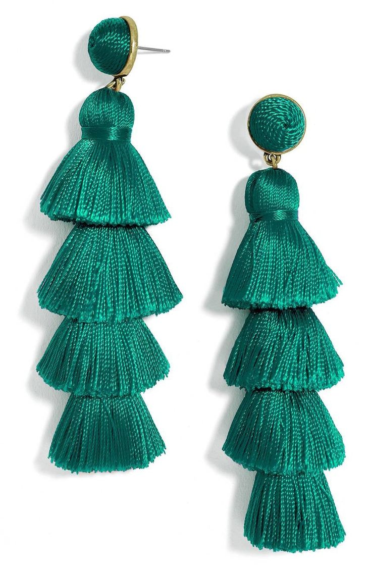 Tiered tassels define head-turning statement earrings that frame your face in vibrant color.