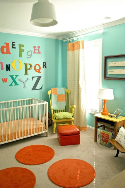 Very cute, bright nursery: Wall Colors, Home Tours, Nurseries Colors, Alphabet Wall, Boys Rooms, Colors Schemes, Baby Rooms, Bright Colors, Kids Rooms