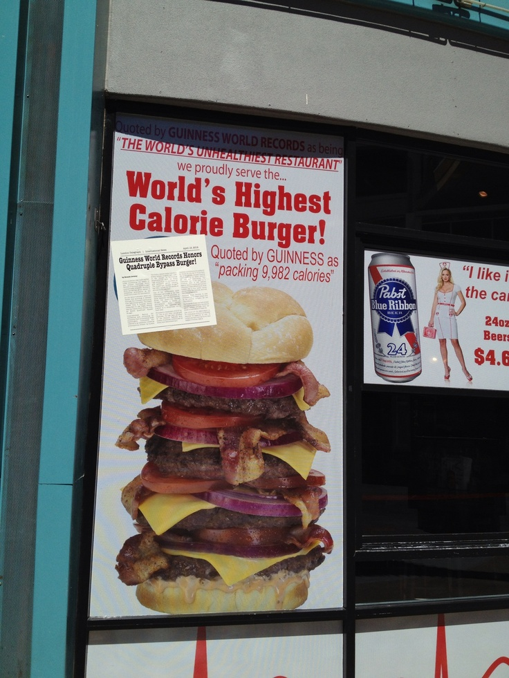Fremont Street ,Las Vegas A Burger That Gives You Nearly 10,000 Calories In  One Sitting