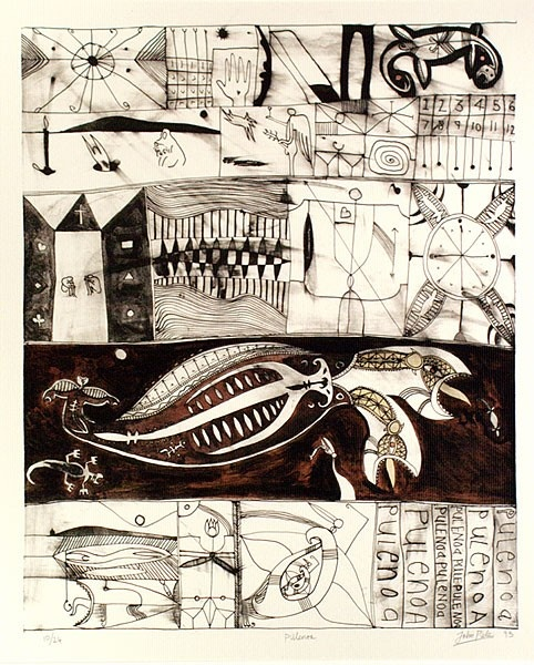 Contemporary Tribal:    John Pule, Niuean artist, Hiapo inspired lithograph…