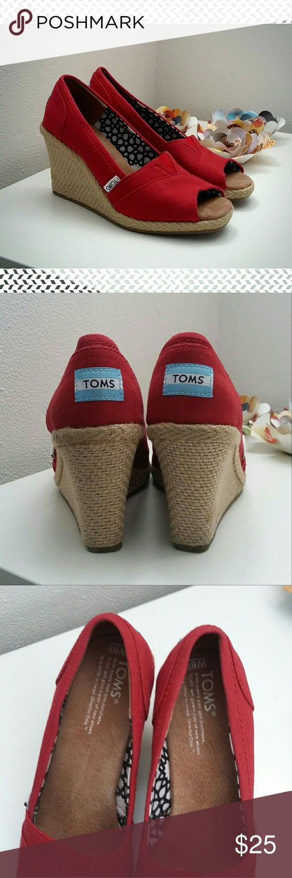 Tom's Red Canvas Espadrille Wedges Cute Tom's summer wedges!  Gently worn, see pic for slight discoloration in right heel. TOMS Shoes Espadrilles
