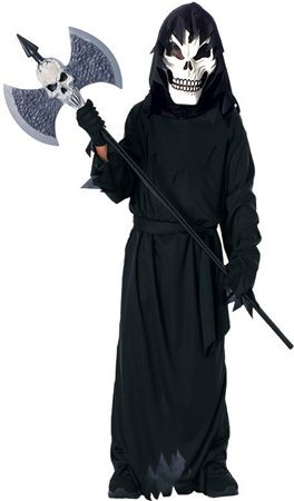 childs scary skeleton costume features scary skeleton mask black hooded robe with waist sash and gloves - Scary Halloween Costumes For Children