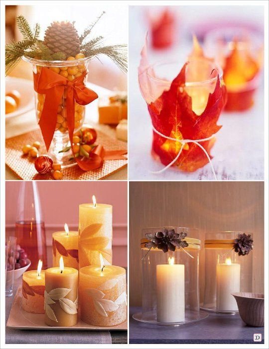 Photo montage, idée de centre de table. Bougies, vases, feuilles ...