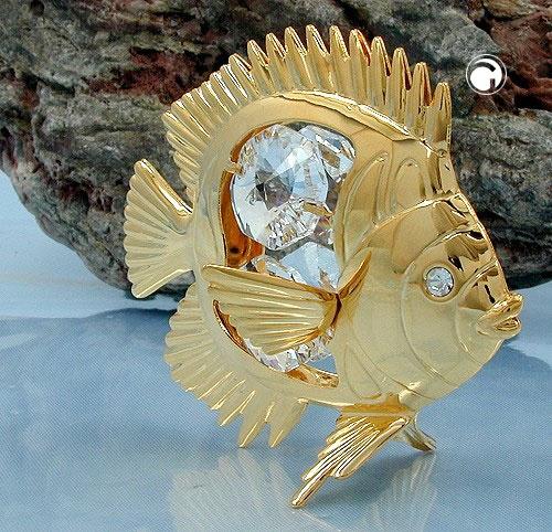 Fisch mit Kristall-Glas, gold-plattiert
