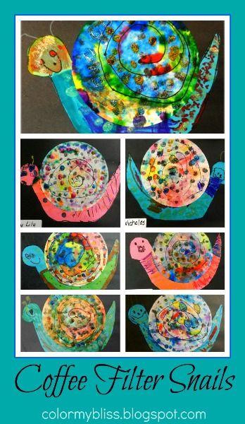 Preschool Art: Coffee Filter Snails