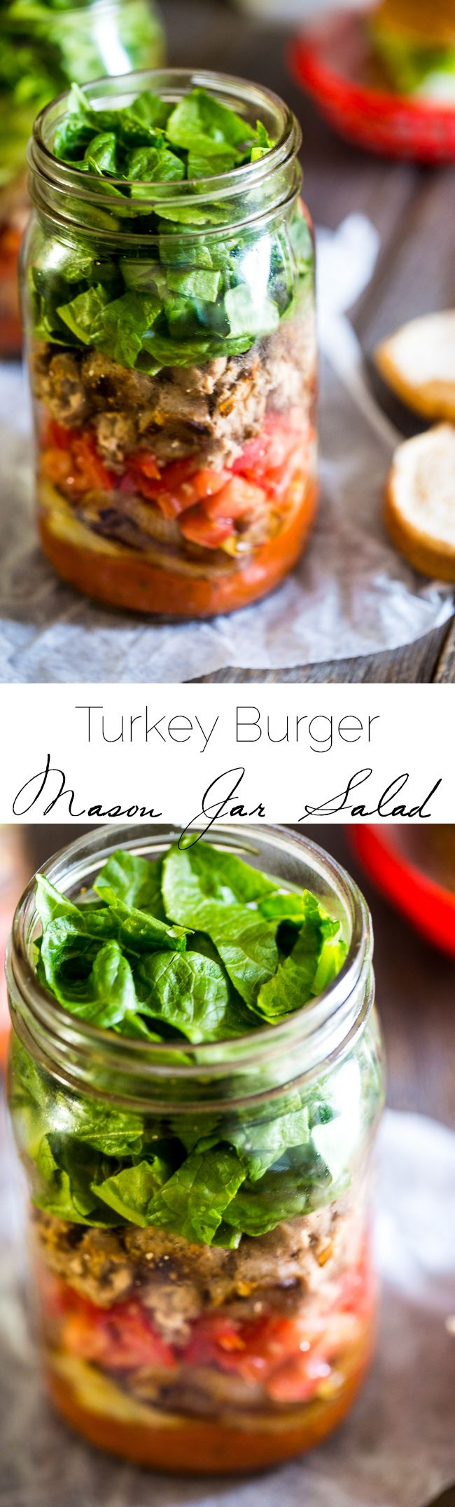 Turkey Burger Mason Jar Salads - A fun, easy way to make your burger portable! All the taste of a burger in a healthy, gluten free and low carb meal! | Foodfaithfitness.com | @FoodFaithFit