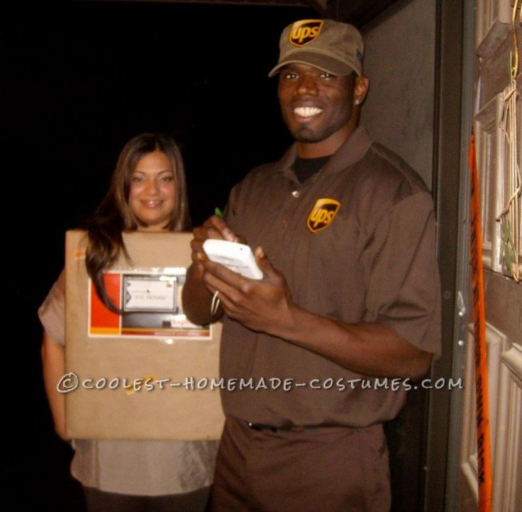 simple and creative couples costume ups guy and his package - Ups Man Halloween Costume