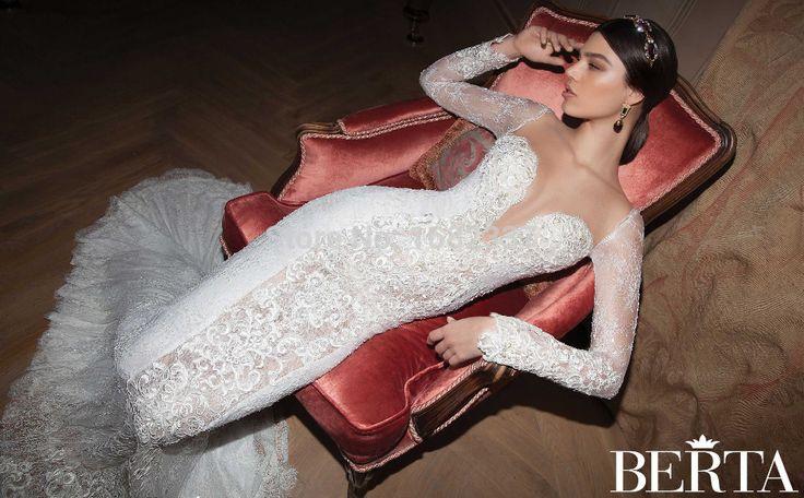 2015 Берта с длинным рукавом свадебные платья Русалка кружева Sexy backless свадебные платья с накидкой платье де noiva плюс Размер Китай MW0099