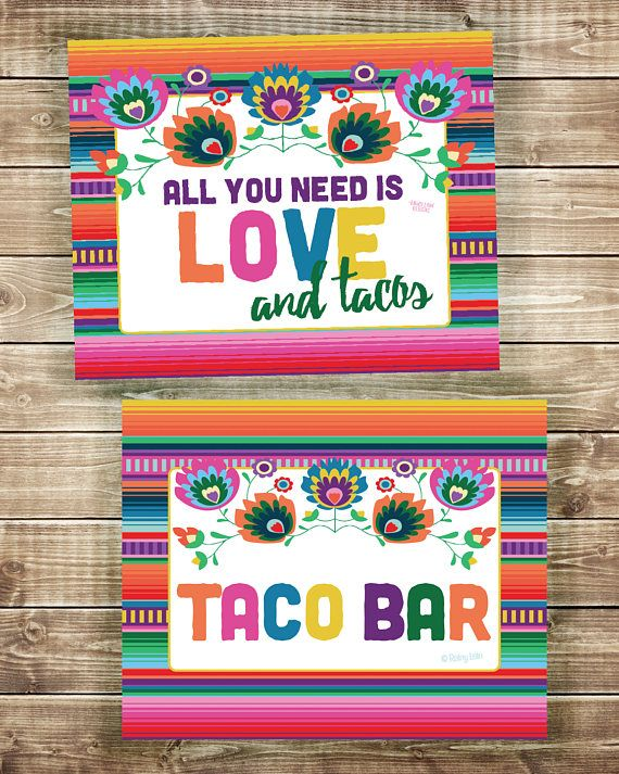 All you need is LOVE and tacos! This sign is perfect for your wedding or bridal shower fiesta! This is a listing for a digital sign for you to download (INSTANTLY!) and print at home or at your favorite print center. The sign can be printed and framed or even printed on canvas for a