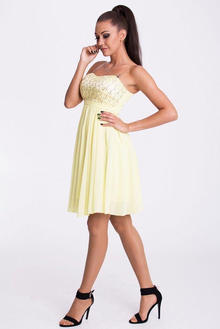 EVA&LOLA SUKIENKA - CYTRYNOWY Rozkloszowana sukienka ze złotym zdobieniem #modadamska #sukienkiletnie #sukienka #suknia #sklepinternetowy #allettante