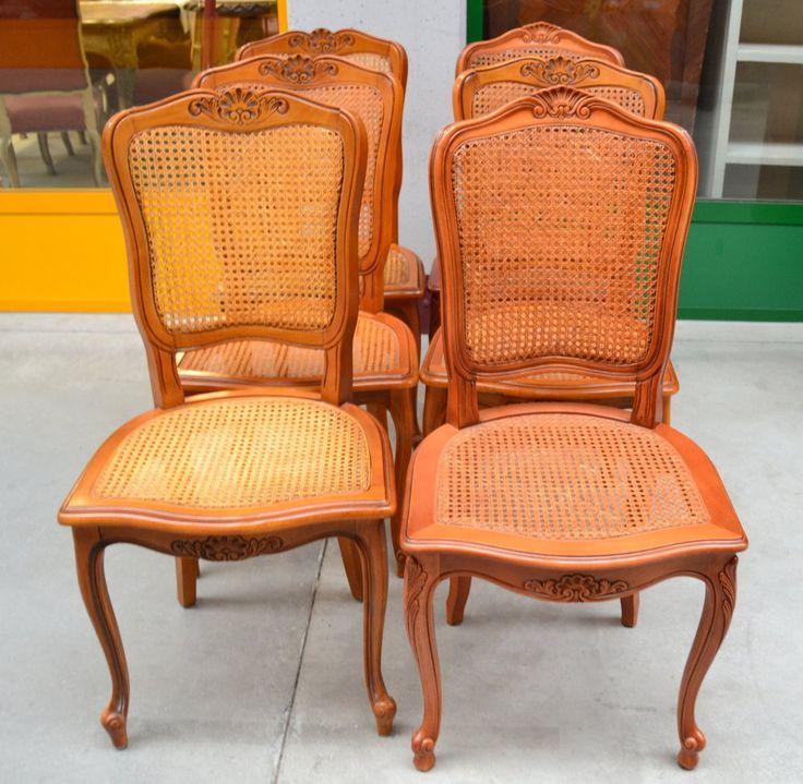 6 sedie provenzali in stile Luigi XV scolpite con seduta e schienale in paglia di Vienna