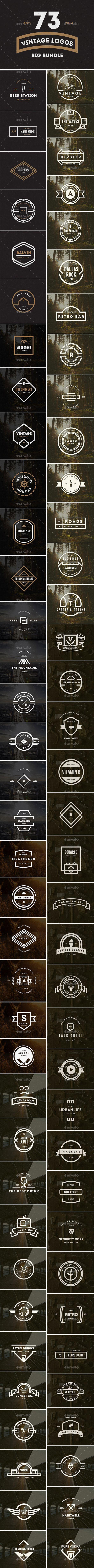 73 Vintage Labels & Badges Logos Bundle
