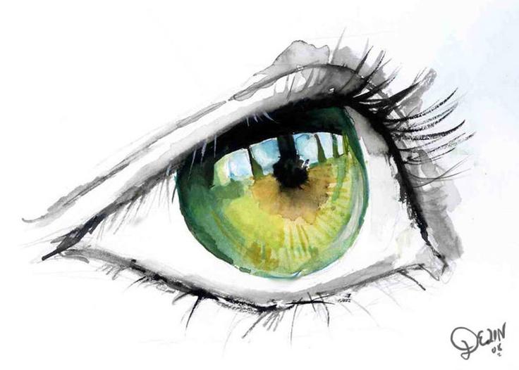 Green Eye in Watercolour by *De1in: Eye Colors, Watercolor Eye, Watercolors, Beautiful, Eye Art, Water Colors, Green Eye, Watercolour, Painting