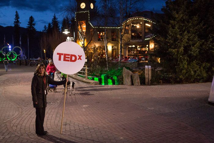 Lollipop-style signage clearly lead the way to the TEDxChange dinner.  Photo: Marla Aufmuth/TED