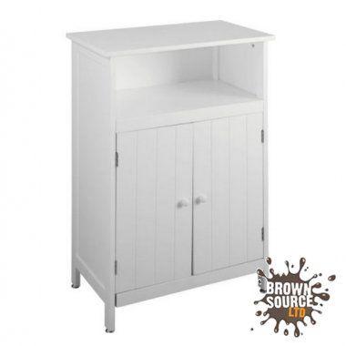 White Bathroom Floor Cabinet Wide 2 Door Cupboard 1 Shelf Boston