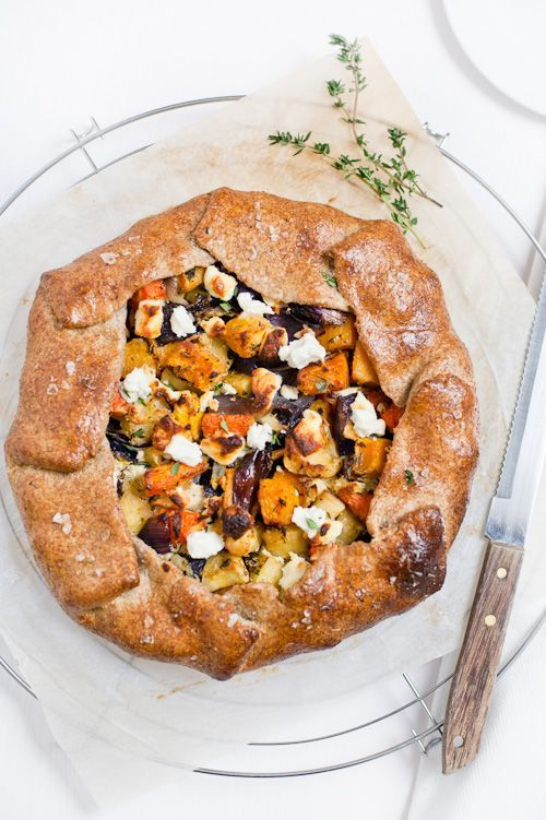 roasted vegetable galette with carrots, parsnips, butternut squash and goat cheese. that crust looks incredible.