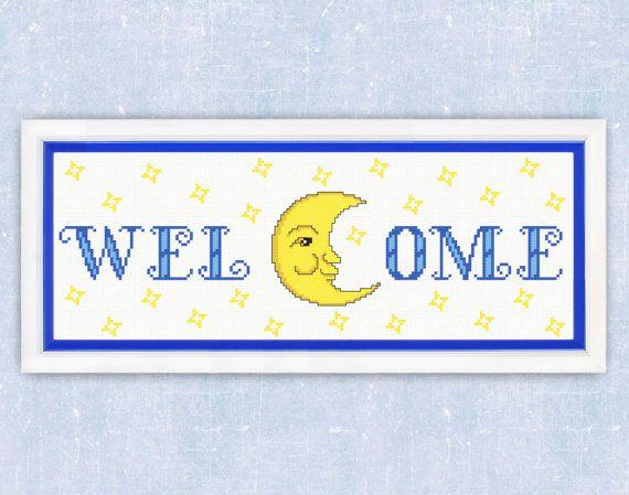 Cross Stitch Pattern PDF Welcome Home Decor night by TimeForStitch
