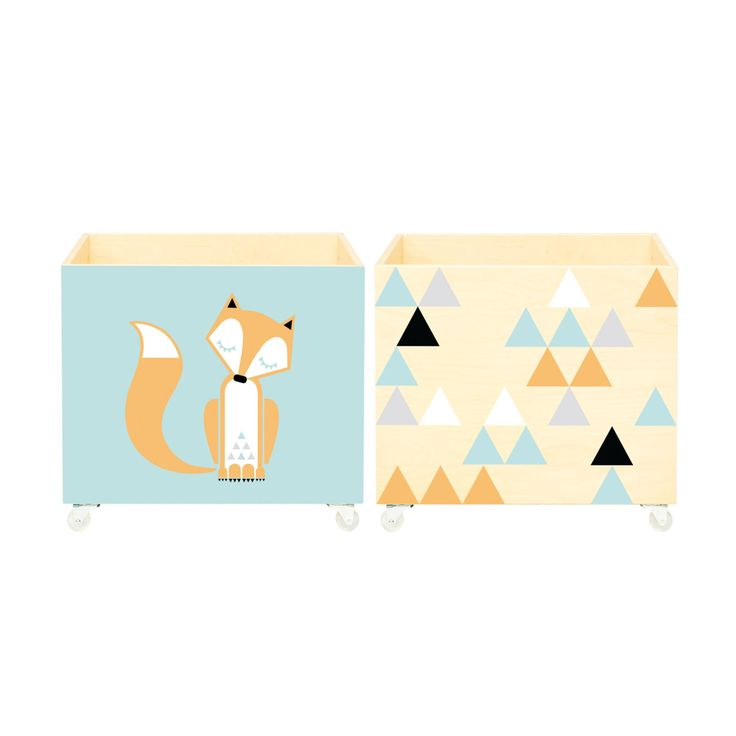 Set of two boxes. Toy chest, nursery toy box, toy bin, toy storage. Kids furniture. Wooden, solid on wheels. Plywood, triangles, sleepy fox. by NOBOBOBO on Etsy