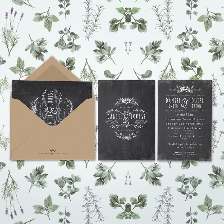 A6 Chalkboard wedding invitation with simple floral wreath design and recycled kraft envelope