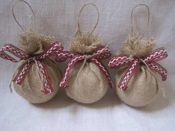 Rustic burlap ornaments ,Christmas tree ornaments ,large burlap balls ...