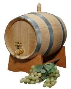 Botte in Rovere Francese con capienza massima 5 litri completa di tappo, supporto e rubinetto ottone.