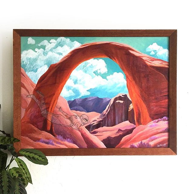 Do you have any artists in your family? Tell me who in the comments! Did you get any of their artsy DNA?⠀ ⠀ This piece already has four generations of history in it... my great grandma Helen also loved to paint southwest landscapes, and I couldn't believe my fortune when I came across two old canvas boards with HER sketches on them! This is the first one which I took the liberty of painting and finishing. I love the close-up perspective she chose of the Rainbow Bridge in Arizona and would…