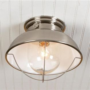 Nantucket Ceiling Light, Brushed Stainless Finish - mudroom lighting or hallway