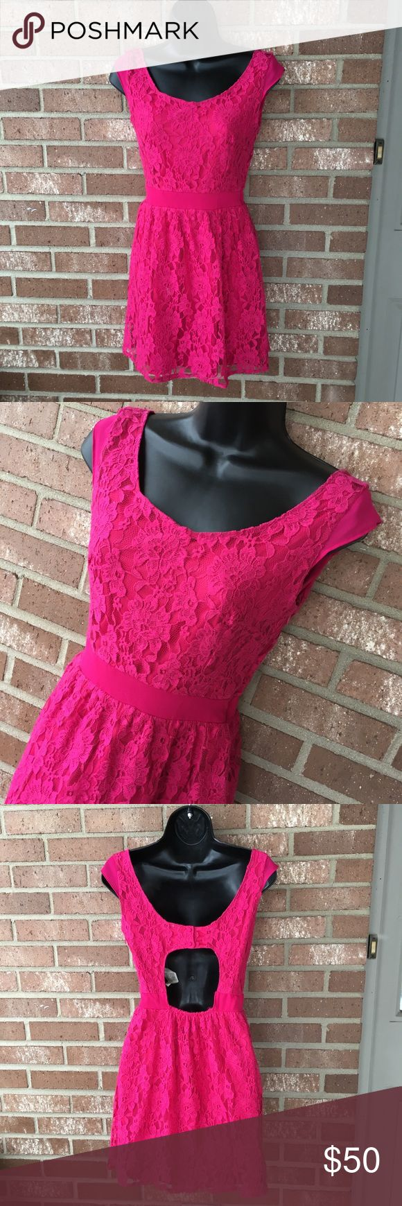 Adorable NWT American Eagle pink lace dress size 0 Adorable American Eagle pink lace dress! Cute shade of pink! Perfect for Valentine's Day! New with tag! Size 0 Has cutout in the back! Seriously love this dress! Sadly I'd purchased online and it doesn't fit me! Never worn and is in new condition, though has a few white/black treads seen in/visible. IMO not noticeable from far away, only up close! American Eagle Outfitters Dresses Mini