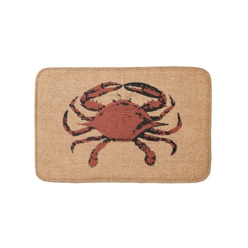 Nautical Rustic Crab Bathroom Bath Mat Anti-Skid  A rustic crab illustration - vintage style - against a faux burlap background. This beachy bath mat is sweet and stylish as well as functional and anti-skid for your safety. It's the perfect touch for your bathroom, outside your shower or bathtub.