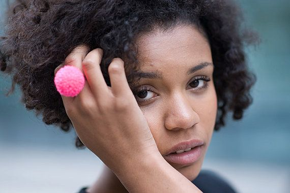 handmade ring with a pink pompom fluorescent neon pom by bimabejbe, €6.00